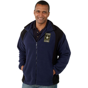 Full Zip Fleece Jacket with Retired Army Branch Patch