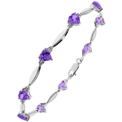 Sterling Silver Amethyst Birthstone Bracelet with Diamond Accents - February
