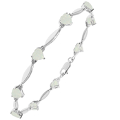 Sterling Silver Created Opal Birthstone Bracelet with Diamond Accents - October