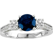 14K White Gold 5/8 CTW Sapphire and Diamond Engagement Ring