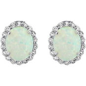 Sterling Silver Created Opal and White Topaz Earrings