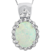 Sterling Silver Created Opal and White Topaz Pendant