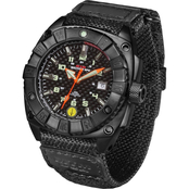 MTM Special Ops Mens Black Warrior Watch with Ballistic Velcro Band