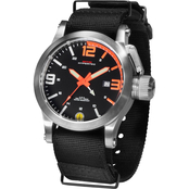 MTM Special Ops Mens Hypertec Silver Watch with Black/Neon Orange Dial