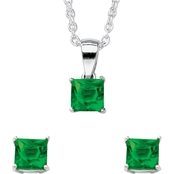 Palm Beach Simulated Emerald Birthstone Sterling Silver Pendant and Earrings Set