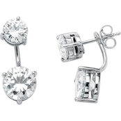 PalmBeach Platinum, Sterling Silver Cubic Zirconia 2 in 1 Stud and Drop Earrings