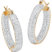 PalmBeach Two Tone Cubic Zirconia Inside Out Pave Hoop Earrings