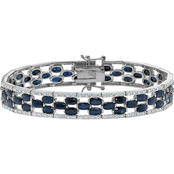 PalmBeach Platinum Sterling Silver Sapphire Tennis Bracelet with Diamond Accent