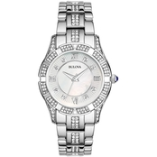 Bulova Women's White Mother of Pearl Crystal Bracelet Watch 96L116