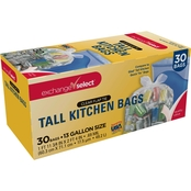 Exchange Select Tall Kitchen Bags, 13 Gallon, .69 Mil, Clear, 30 pk.