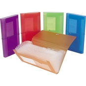 Filexec Expanding 13 Pocket Poly File Assorted Colors