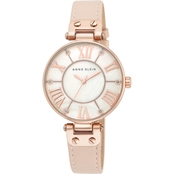 Anne Klein Women's Oversized Rose Goldtone Pink Leather Strap Watch