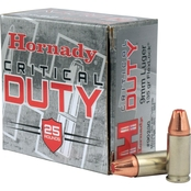 Hornady Critical Duty 9mm 135 Gr. FlexLock Duty Hollow Point, 25 Rounds