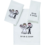 Avanti Bride and Groom 3 pc. White Towel Set