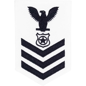 NAVY RATE BADGE E-6 MASTER-AT-ARMS BLUE ON WHITE CERTIFIED NAVY TWILL FEMALE