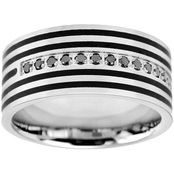 Stainless Steel and Black Immersion Plated 1/7 CTW Black Diamond Band