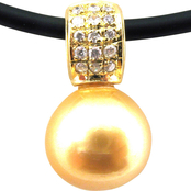 14K Yellow Gold 18 in. Golden South Sea Cultured Pearl Necklace with Diamond Accents