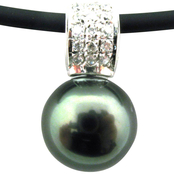 14K White Gold 18 in. Black Tahitian Cultured Pearl Necklace with Diamond Accents