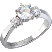 Platinum 3/4 CTW Diamond 3 Stone Engagement Ring, Size 7