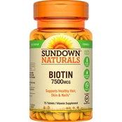 Sundown Naturals Super Strength Biotin 7500 mcg Tablets 75 Pk.