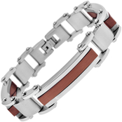 Stainless Steel and Brown Immersion Plated Bracelet