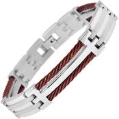 Stainless Steel and Brown Immersion Plated Cable Bracelet