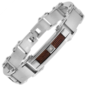 Stainless Steel and Brown Immersion Plated 1/10 CTW Diamond Bracelet