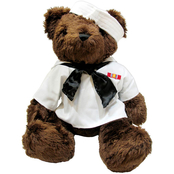 Bear Forces of America Plush Bear in the Navy White Jumper, 16 in.