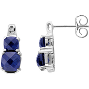 Sterling Silver Created Blue Sapphire Earrings with Diamond Accents