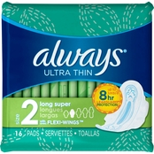 Always Ultra Thin Long Super Pads with Wings 16 Ct.