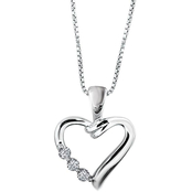 Love Honor Cherish Sterling Silver 1/8 CTW Three Stone Heart Pendant Certified
