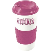 Mitchell Proffitt Proud Wife of a Veteran, Navy Grip N Go Travel Mug
