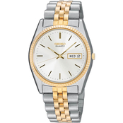 Seiko Men's Two Tone Silver Dial Day Date Watch