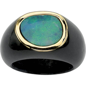 PalmBeach 10K Yellow Gold Black Jade Ring with Blue Opal Cabochon, Size 8