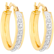 Diamond Fascination 18K Yellow Gold over Sterling Silver Hoop Earrings