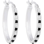 Diamond Fascination Platinum over Sterling Silver Black and White Hoop Earrings