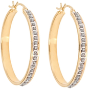 Diamond Fascination 18K Yellow Gold over Sterling Silver Bold Hoop Earrings