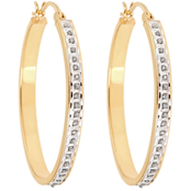 Diamond Fascination 18K Yellow Gold over Sterling Silver Medium Oval Hoop Earrings