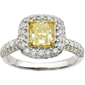 14KW Gold and 18KY Gold 1 3/4 CTW Fancy Yellow and White Diamond Ring, Size 7