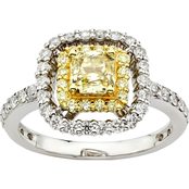 18K Two Tone 1 3/8 CTW Fancy Yellow and White Diamond Ring