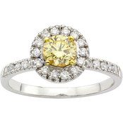 18K Two Tone Gold 7/8 CTW Fancy Yellow and White Diamond Ring, Size 7