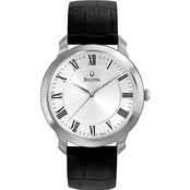 Bulova Men's Silvertone Dress Watch with Black Leather Strap