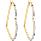 18K Yellow Gold over Sterling Silver Diamond Accent Heart Hoop Earrings
