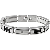 Stainless Steel and Black Immersion Plated 1/10 CTW Black Diamond Bracelet