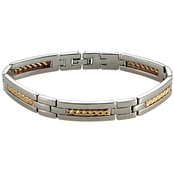 Stainless Steel Bracelet with 18K Yellow Gold Inlays