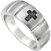 Stainless Steel Black Diamond Accent Cross Band
