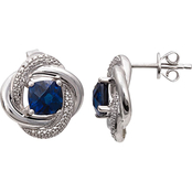 Sterling Silver Created Sapphire Earrings with Diamond Accents