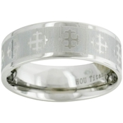 Titanium 8mm Band with Silver Cross Details