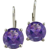Sterling Silver Round-Cut Amethyst Earrings