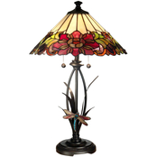 Dale Tiffany Floral Table Lamp with Dragonfly Accent